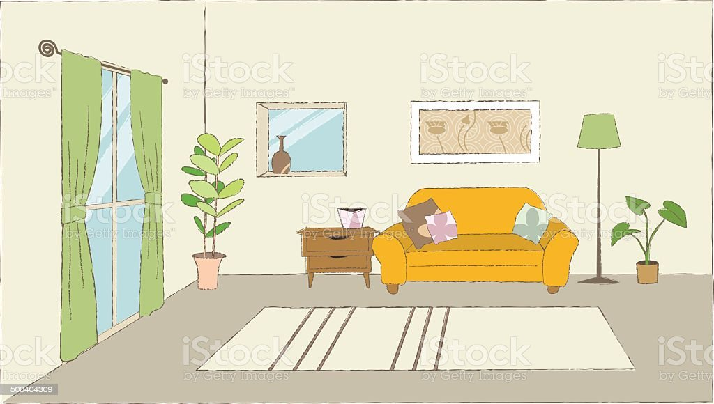 Living room vector art illustration