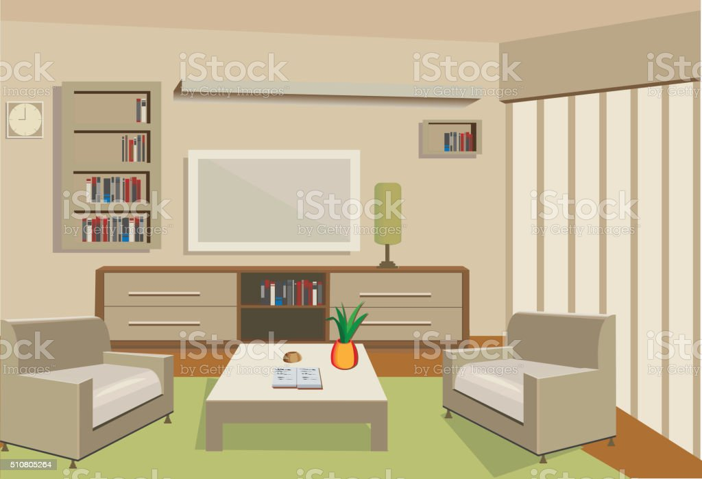 living room vector art illustration