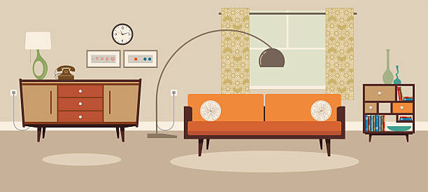 stockillustraties, clipart, cartoons en iconen met living room - interior design