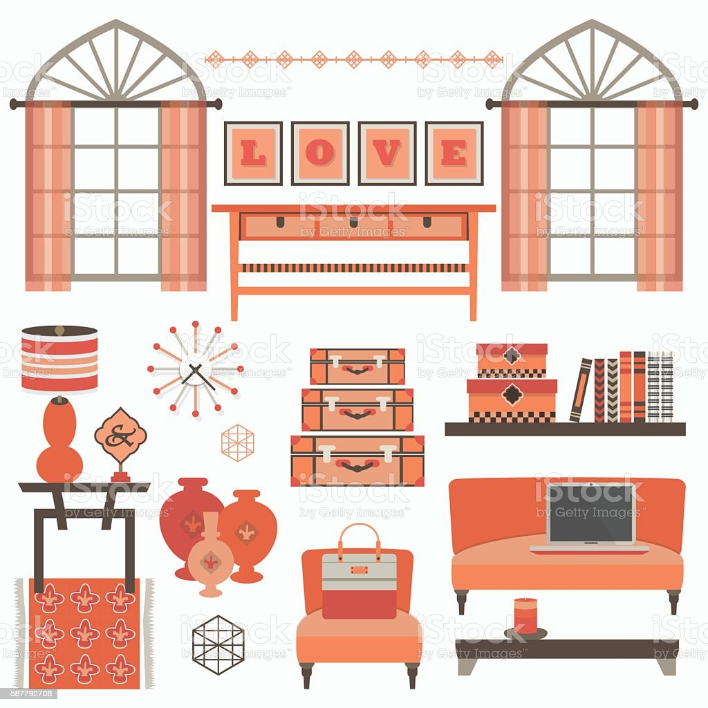 Living Room Windows Furniture And Accessories In Coral Color Stock