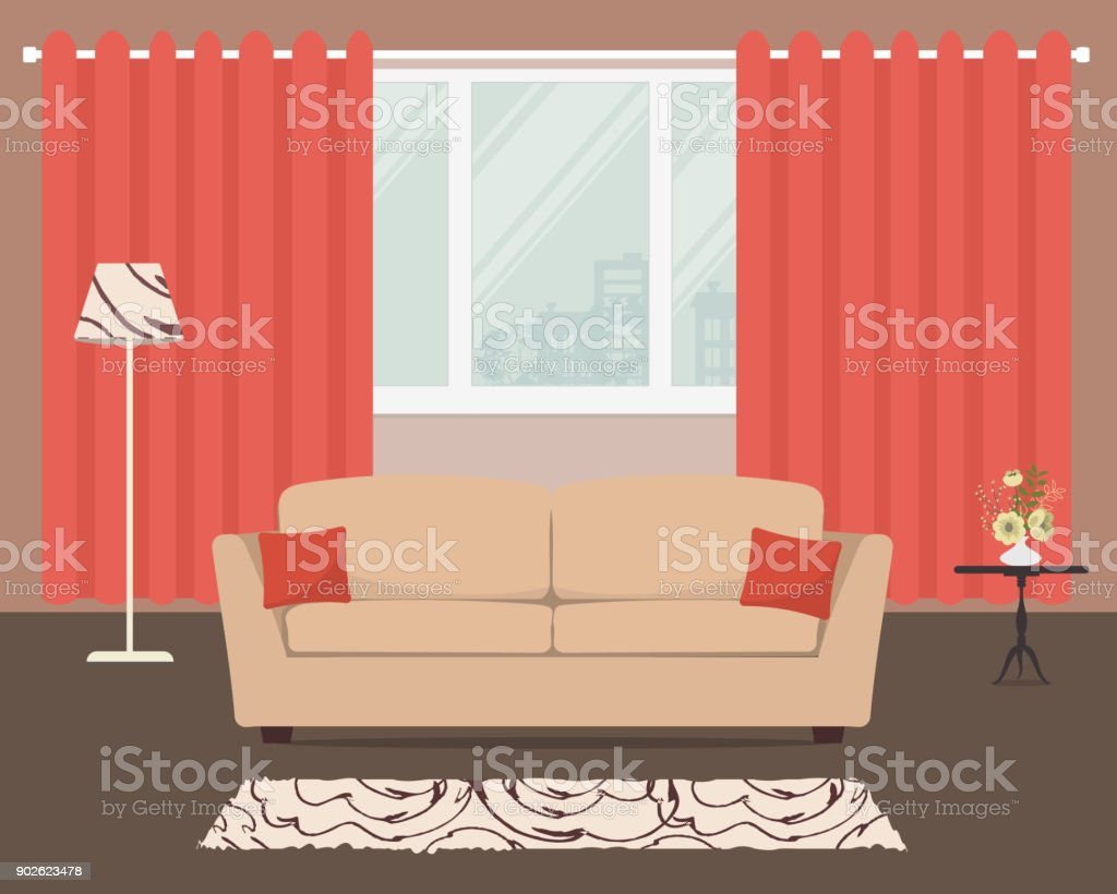 Living Room With A Beige Sofa And Orange Curtains Royalty Free Living Room  With A