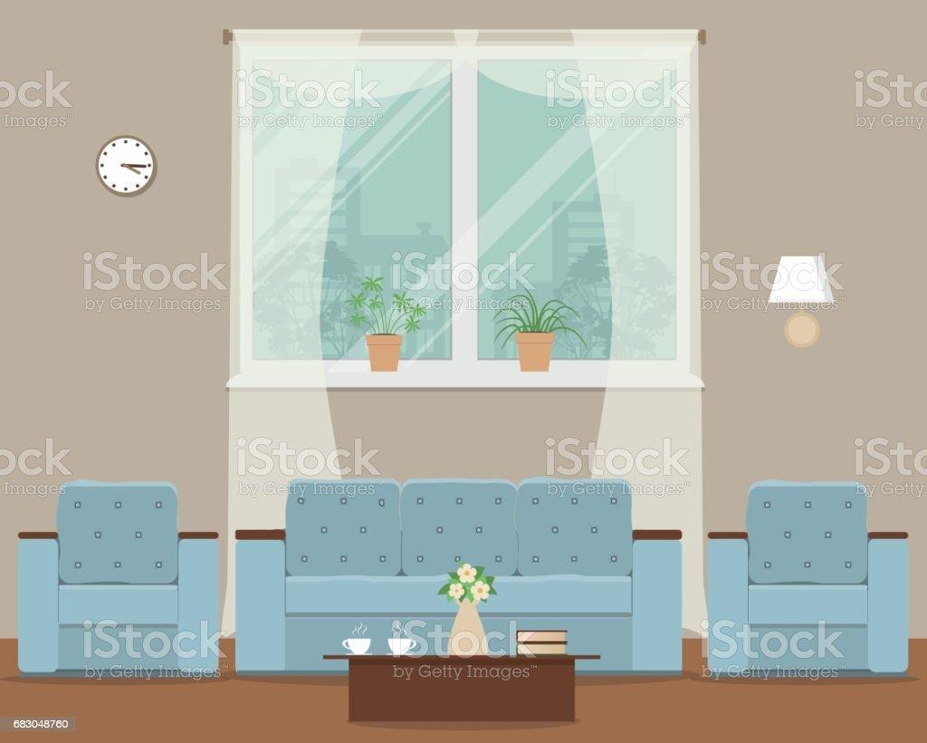 Living room with a blue sofa and armchairs living room with a blue sofa and armchairs - stockowe grafiki wektorowe i więcej obrazów bez ludzi royalty-free