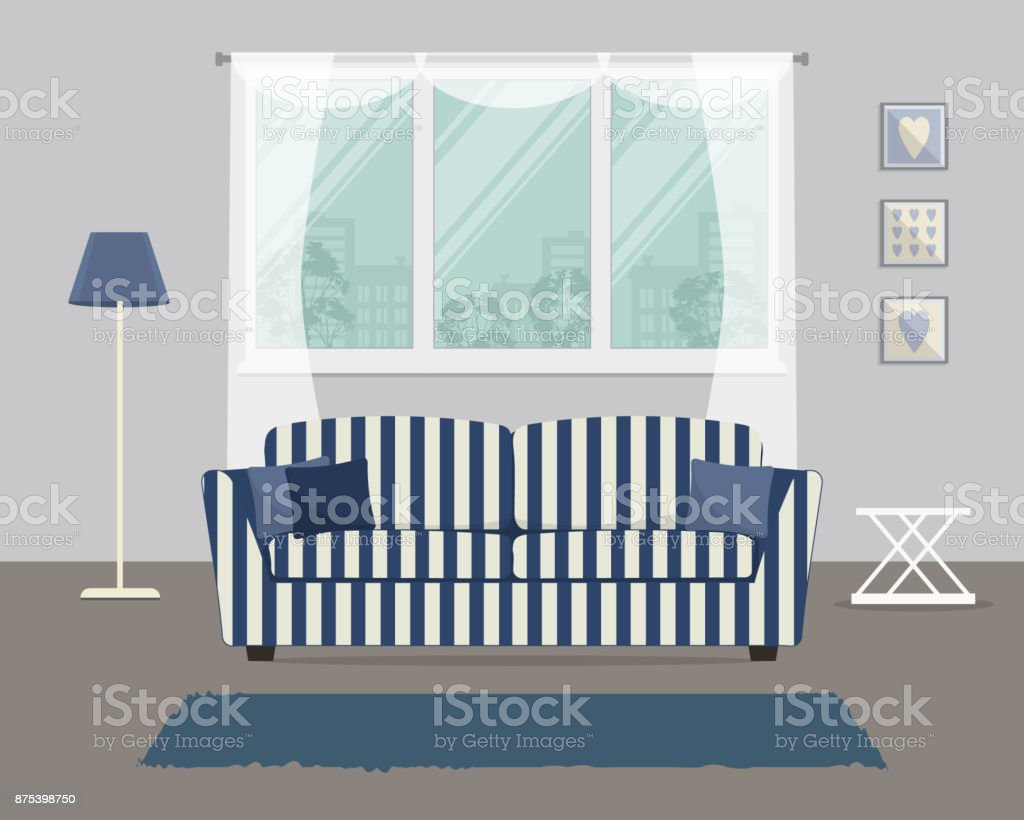 Living Room With A Blue Striped Sofa Stock Vector Art & More Images ...