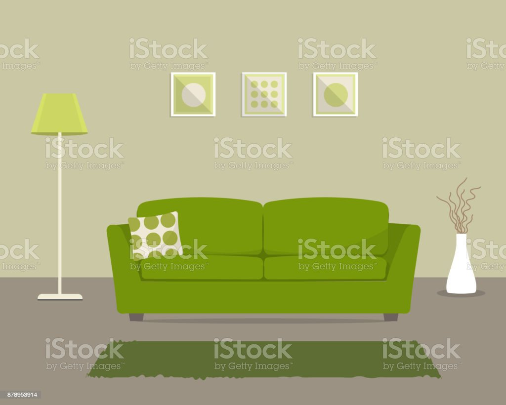 Living room with a green sofa vector art illustration