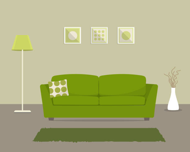living room with a green sofa - living room stock illustrations, clip art, cartoons, & icons