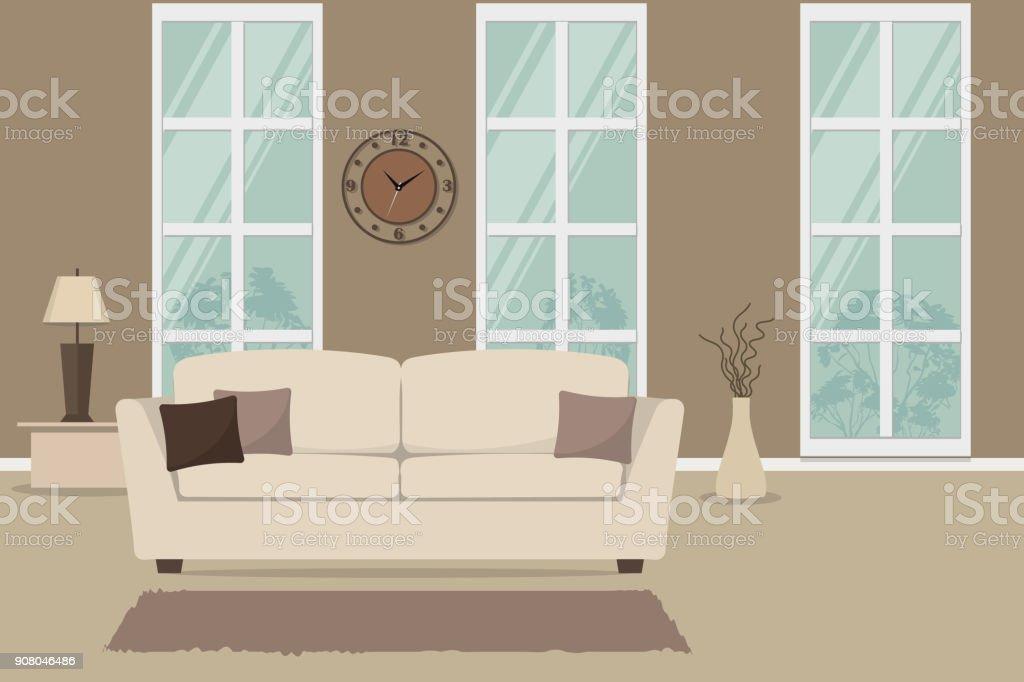 Wohnzimmer Mit Einem Weißen Sofa Und Braune Kissen Lizenzfreies Wohnzimmer  Mit Einem Weißen Sofa Und Braune