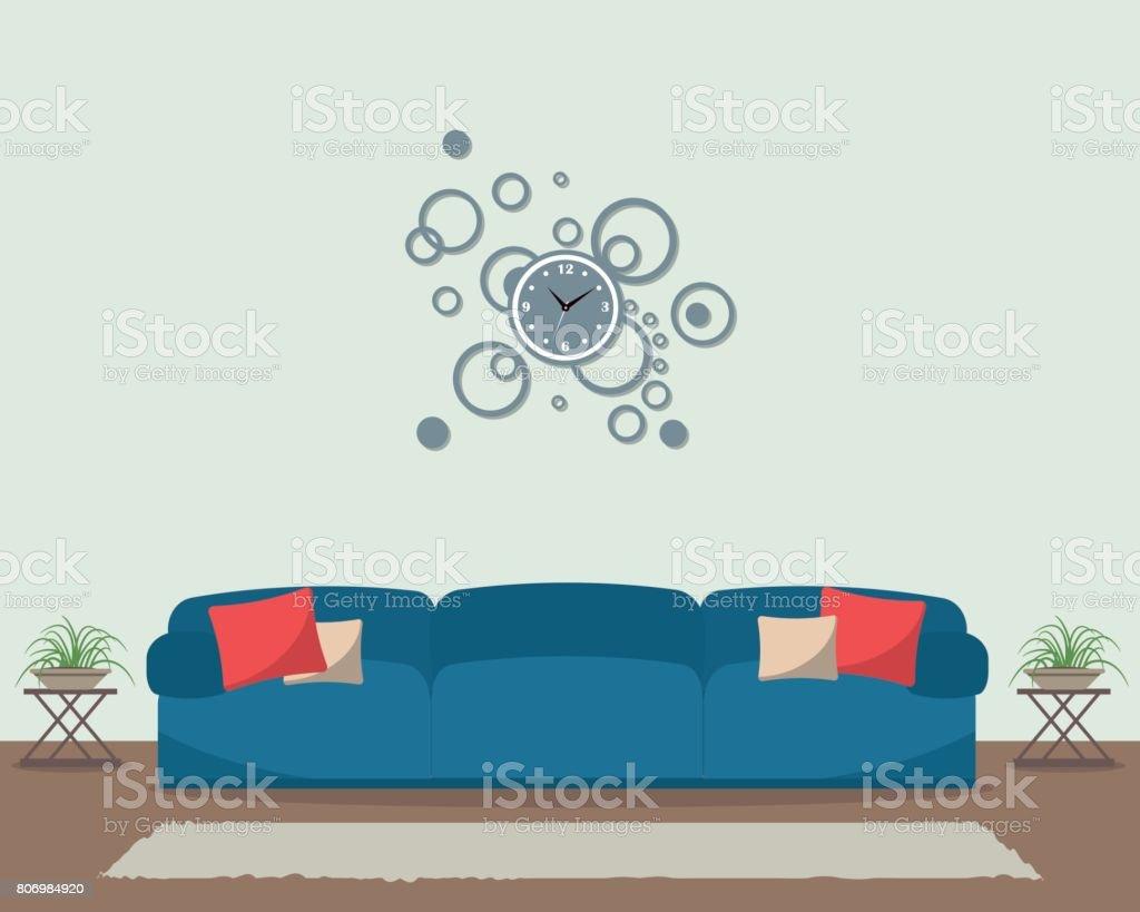 Wohnzimmer Mit Blauem Sofa Und Große Runde Uhr An Der Wand Lizenzfreies  Wohnzimmer Mit Blauem Sofa