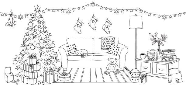 Living room with Christmas decoration vector art illustration
