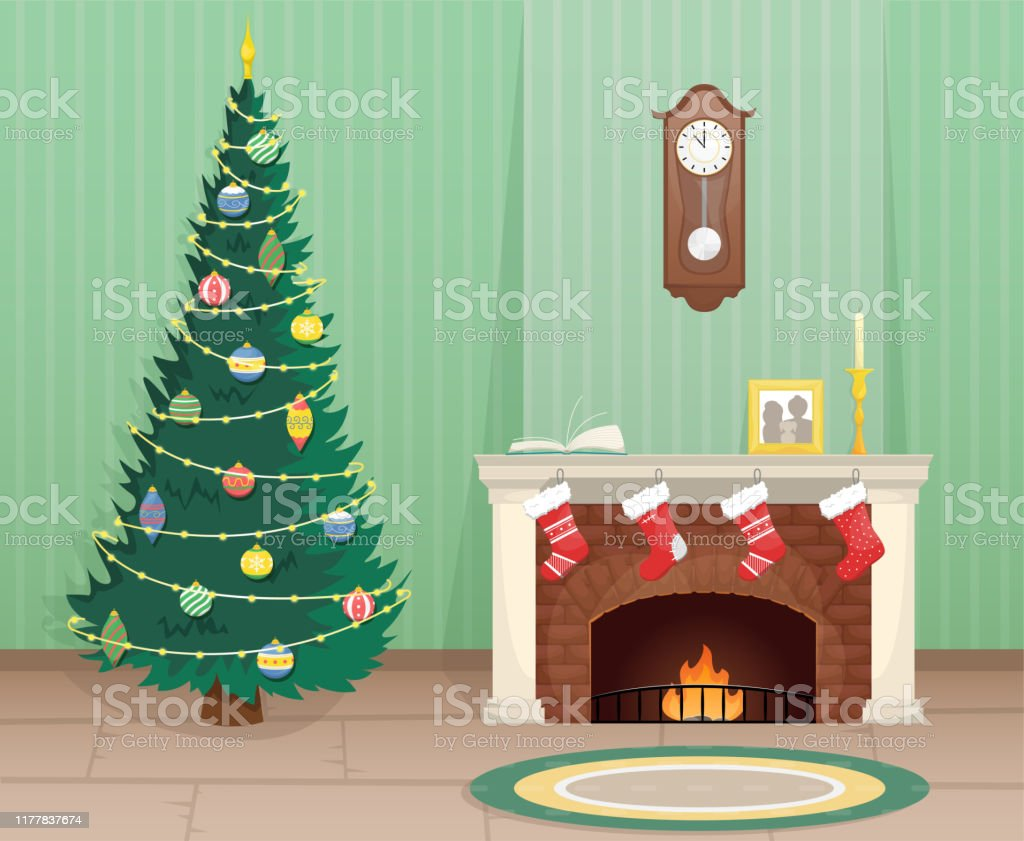 Living room with Christmas tree and brick fireplace with Christmas...