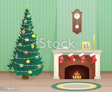 istock Living room with Christmas tree and brick fireplace with Christmas socks for gifts. Christmas flat vector illustration. 1177837674