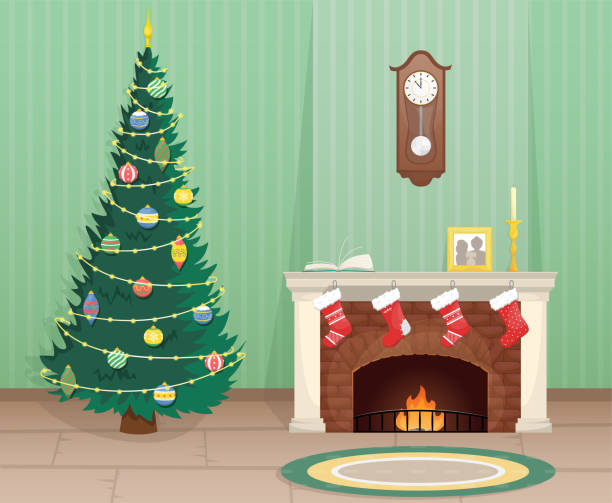 Living room with Christmas tree and brick fireplace with Christmas socks for gifts. Christmas flat vector illustration. Living room with Christmas tree and brick fireplace with Christmas socks for gifts. Christmas flat vector illustration. christmas stocking stock illustrations