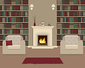 Living room with fireplace. Home library interior