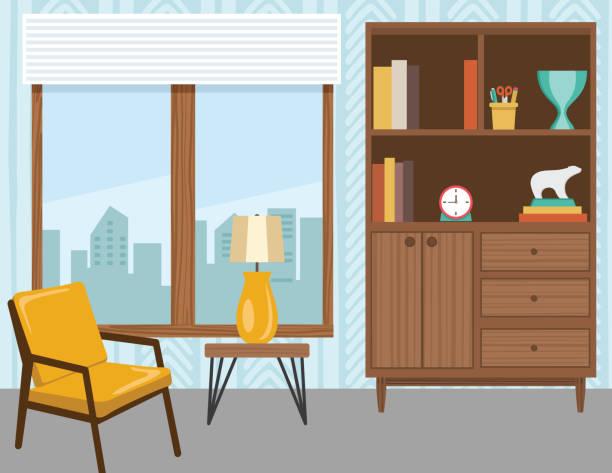 ilustrações de stock, clip art, desenhos animados e ícones de living room with furniture and accessories - sideboard