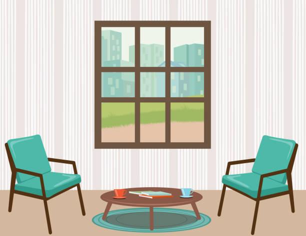 ilustrações de stock, clip art, desenhos animados e ícones de living room with furniture and accessories - coffee table