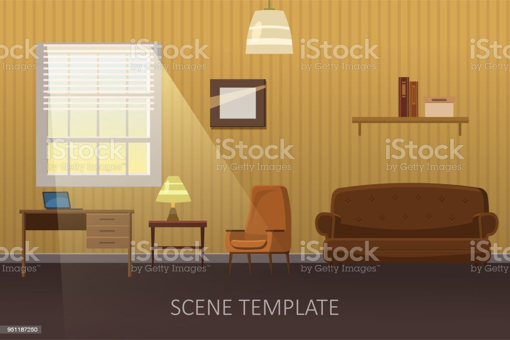 Living Room With Furniture Cozy Interior With Sofa And Tv Cartoon Style Vector Illustration Scene Template For Animation Stock Illustration Download Image Now Istock