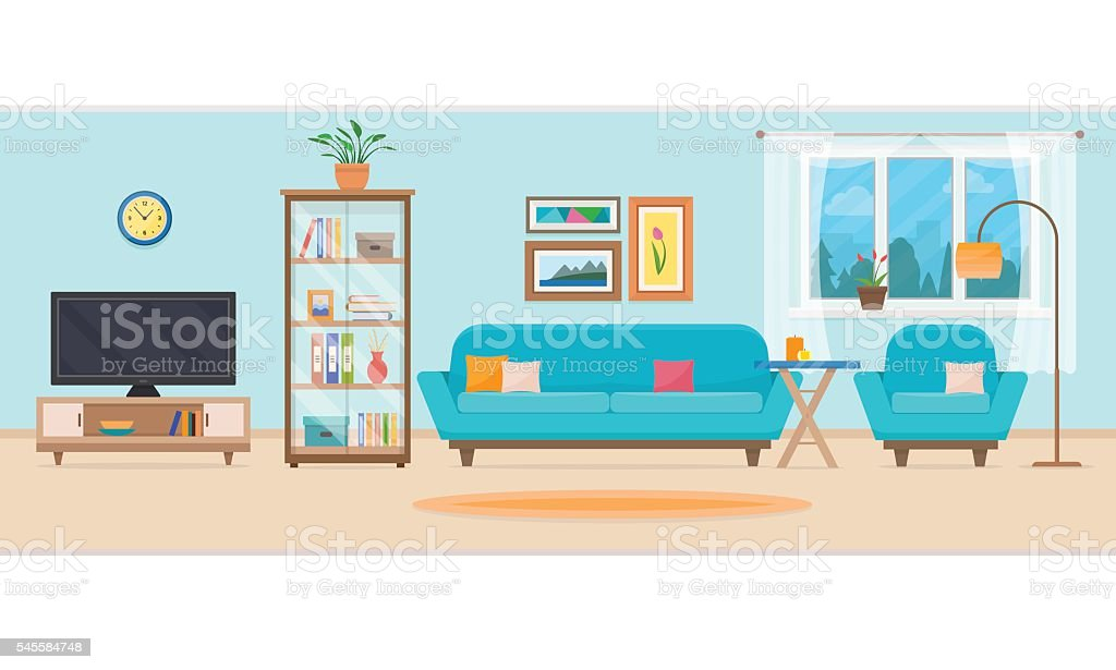 Living room with furniture. vector art illustration