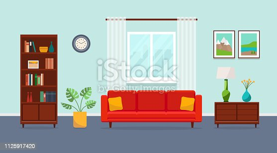 Living room with red sofa, bookcase, vase, plant, paintings and window. Vector flat illustration.