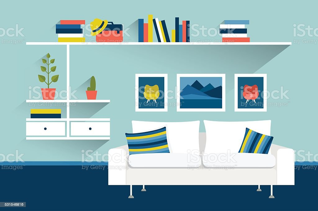 Living room with sofa and book shelves. Flat design illustration. vector art illustration