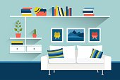 Living room with sofa and book shelves. Flat design illustration.