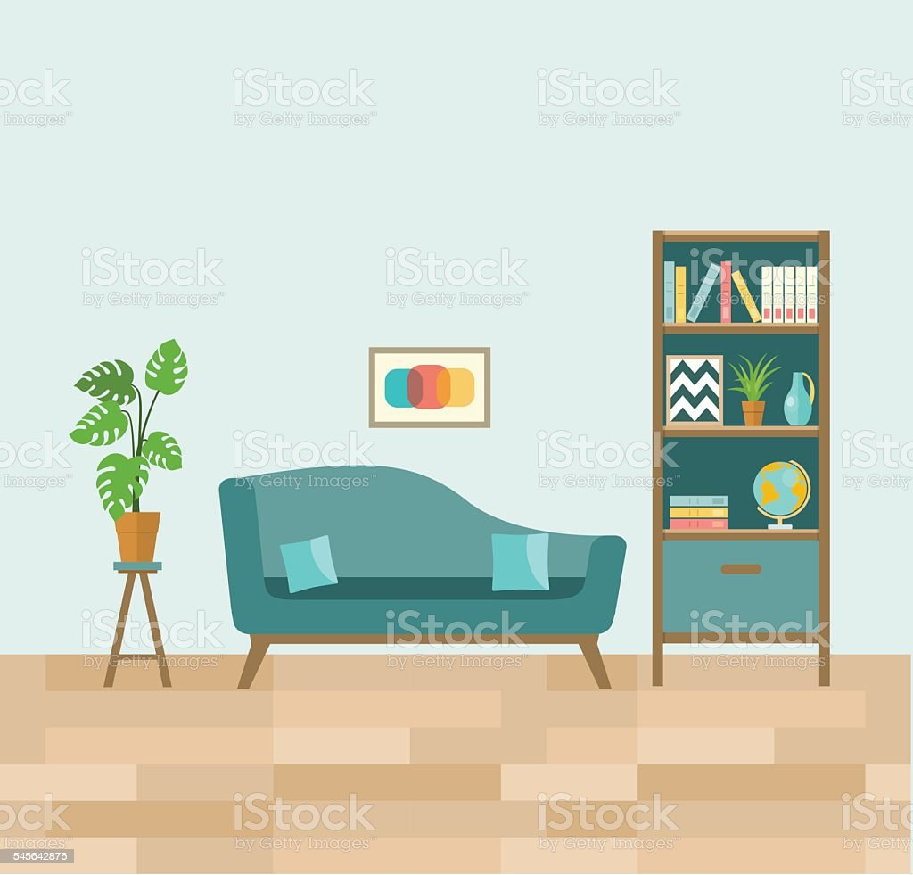 Living room with sofa and book shelves flat vector for Room design vector