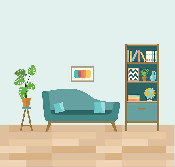 living room with sofa and book shelves. flat vector illustration. - bibliothekwand stock-grafiken, -clipart, -cartoons und -symbole