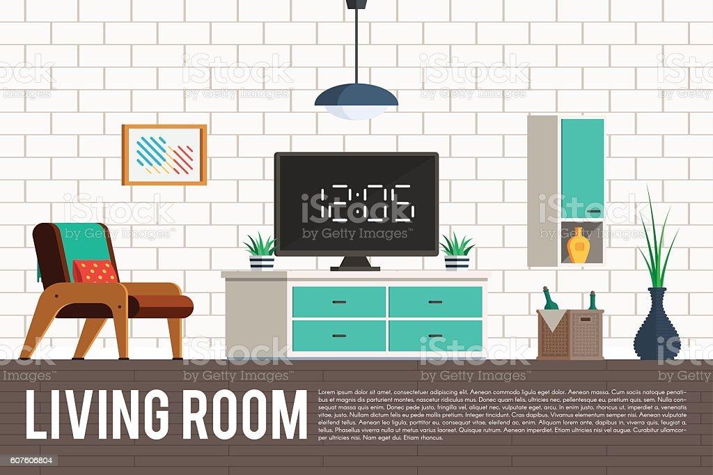 Wohnzimmer Mit Fernseher Vektor Illustration 607606804 | iStock