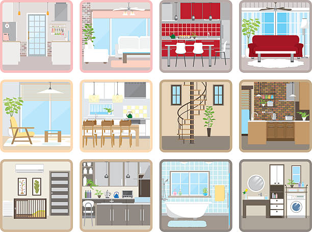 Living space Illustrations of living space ceiling fan stock illustrations