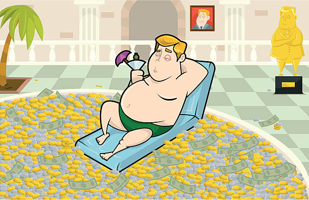 Living the Life of Luxury This is a vector illustration of Jeremy just living the life of luxury in his swimming pool of money. millionnaire stock illustrations