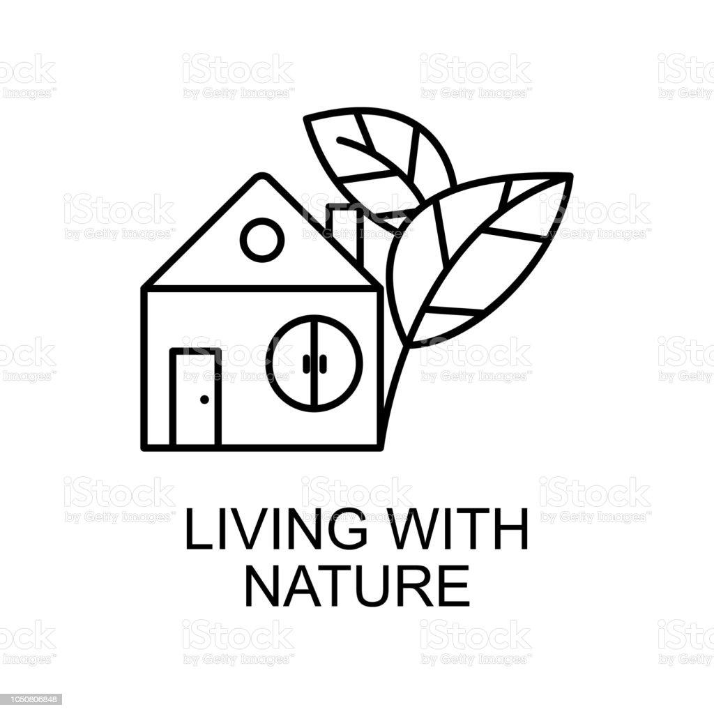 Ilustración De Viven Con El Icono Del Contorno Natural Elemento Del