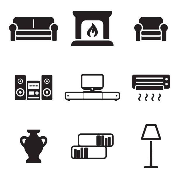 wohnzimmer und symbole - standlautsprecher stock-grafiken, -clipart, -cartoons und -symbole