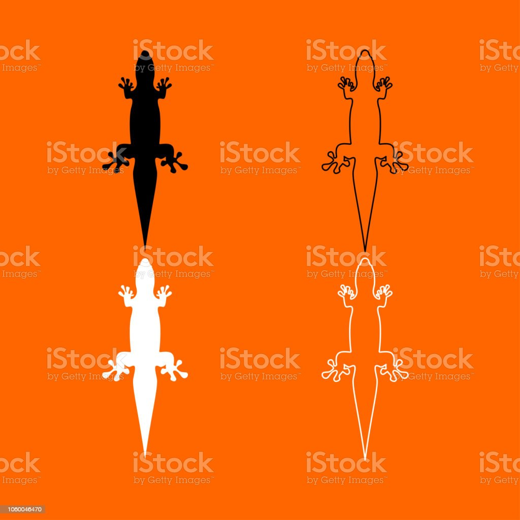 b37b68670939e Lizard Black And White Set Icon Stock Vector Art & More Images of ...