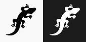 Lizard Icon on Black and White Vector Backgrounds