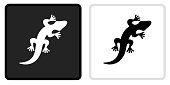 Lizard Icon on  Black Button with White Rollover. This vector icon has two  variations. The first one on the left is dark gray with a black border and the second button on the right is white with a light gray border. The buttons are identical in size and will work perfectly as a roll-over combination.