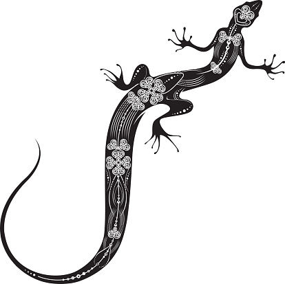 Lizard in black and white