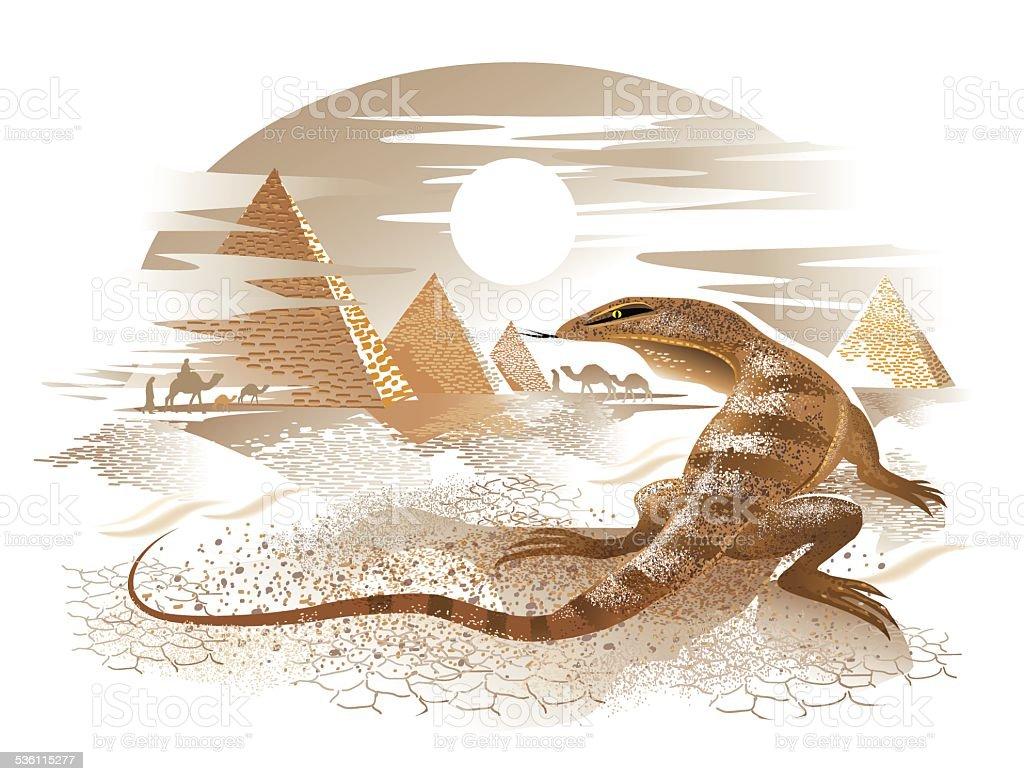 lizard in the desert vector art illustration