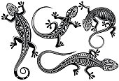 Stylized lizard. Black white reptile illustration. Vector logo lizards. Tattoo.