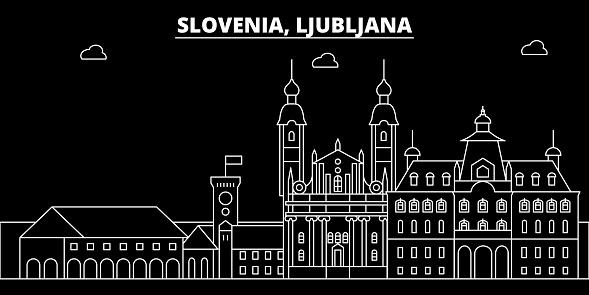 Frohe Weihnachten Slowenisch.Ljubljana Silhouette Skyline Slowenien Ljubljana Vektor