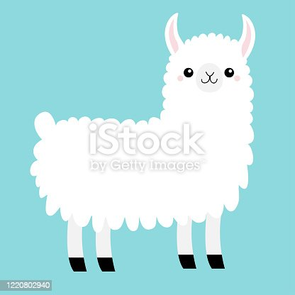 Llama Alpaca animal. Cute cartoon funny kawaii character. Baby face. Childish collection. T-shirt, greeting card, poster template print. Scandinavian style. Flat design. Blue background. Isolated.