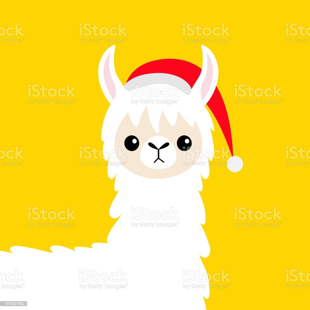 Visage De Bébé Alpaga Lama Bonnet De Noel Joyeux Noël Bonne