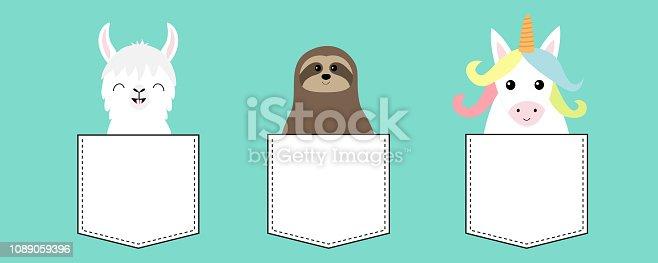 Llama alpaca, sloth, unicorn in the pocket. Animal set. Cute cartoon funny kawaii character. T-shirt, greeting card, poster print. Flat design. Blue background.
