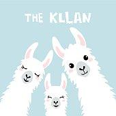 Llama Alpaca. The klan card. Vector illustration