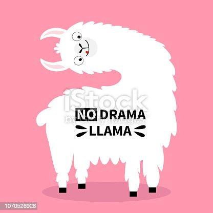 Llama alpaca turning head face, tongue. No drama. Cute cartoon funny kawaii character. Childish baby collection. T-shirt, greeting card, poster template print. Flat design. Pink background.