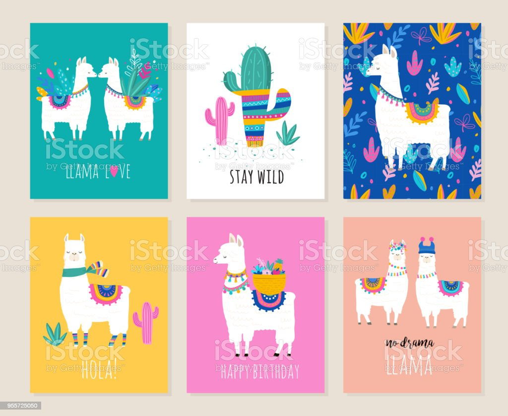 Llama and alpaca collection of cute hand drawn illustrations, cards and design for nursery design, poster, greeting card vector art illustration