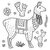 Cute Vector Llama and Cactus coloring page