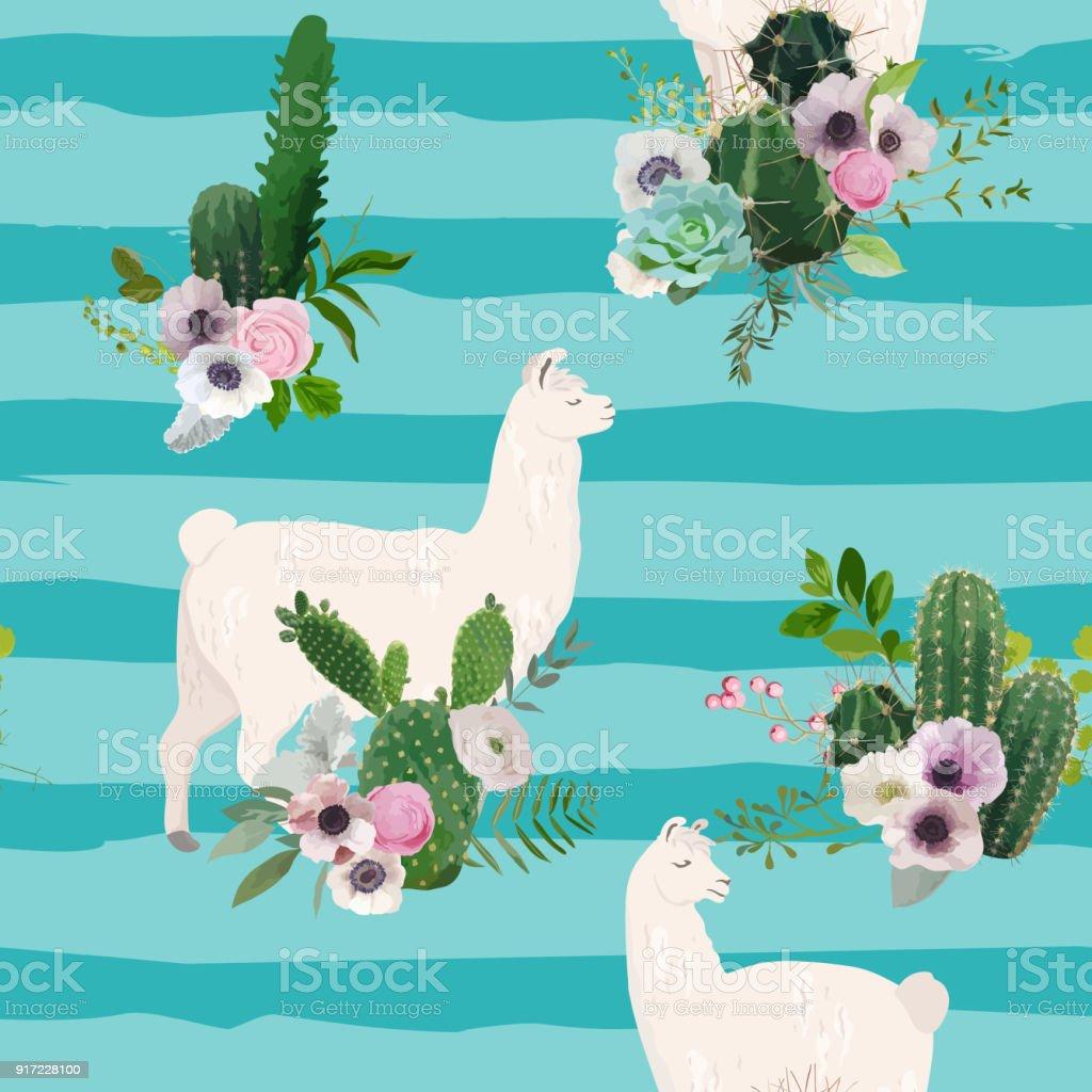 Llama Wallpaper: Llama And Cactus Seamless Pattern Lamas Wildlife Nature