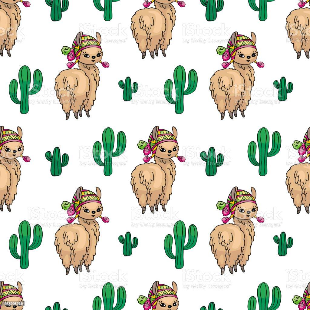 Ilustración de Llama Y Cactus De Patrones Sin Fisuras y más banco de ...