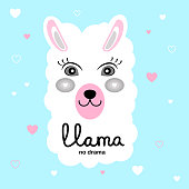 Llama Animal Beautiful Picture Or Poster. Valentine's Day, Baby's Birthday. Decoration of the Children's Room. Lama No Problem. Room for the Little Princess.