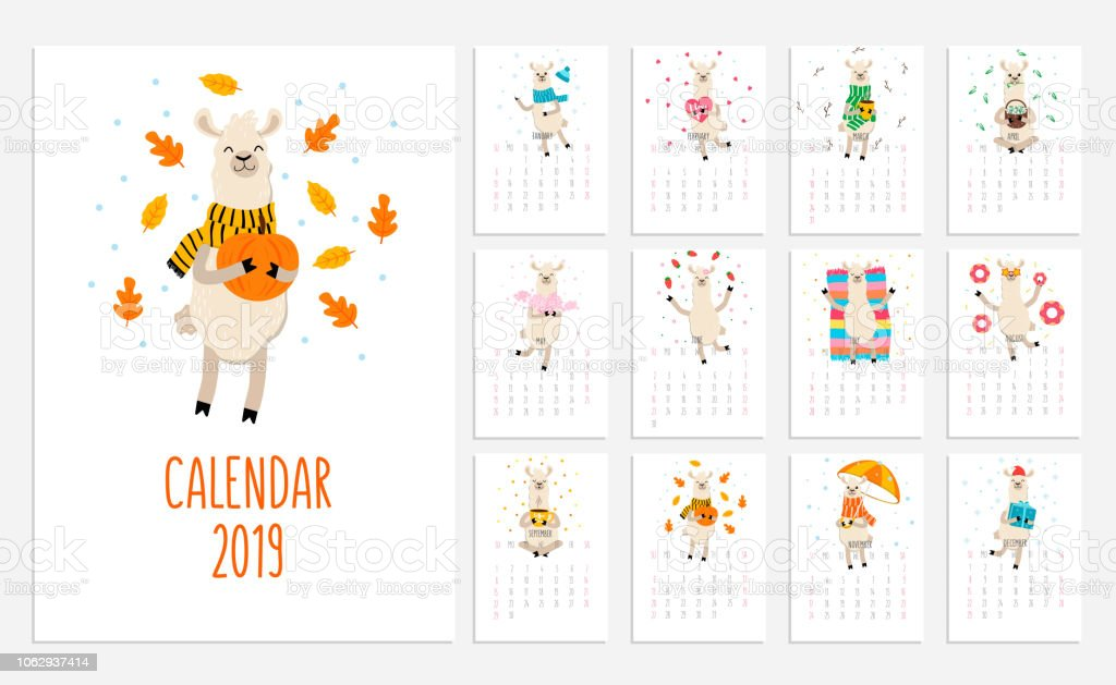 かわいいアルパカと 2019年のラマのカレンダーです。新しい年のベクトル プランナーの図。 ベクターアートイラスト