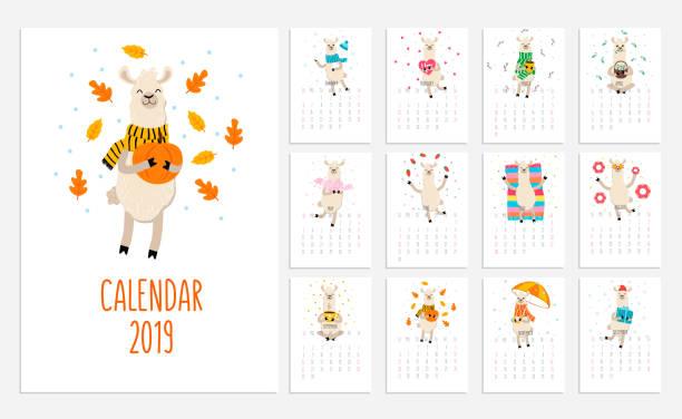 llama calendar for 2019 with cute alpacas. vector planner illustration for new year. - animals calendar stock illustrations, clip art, cartoons, & icons