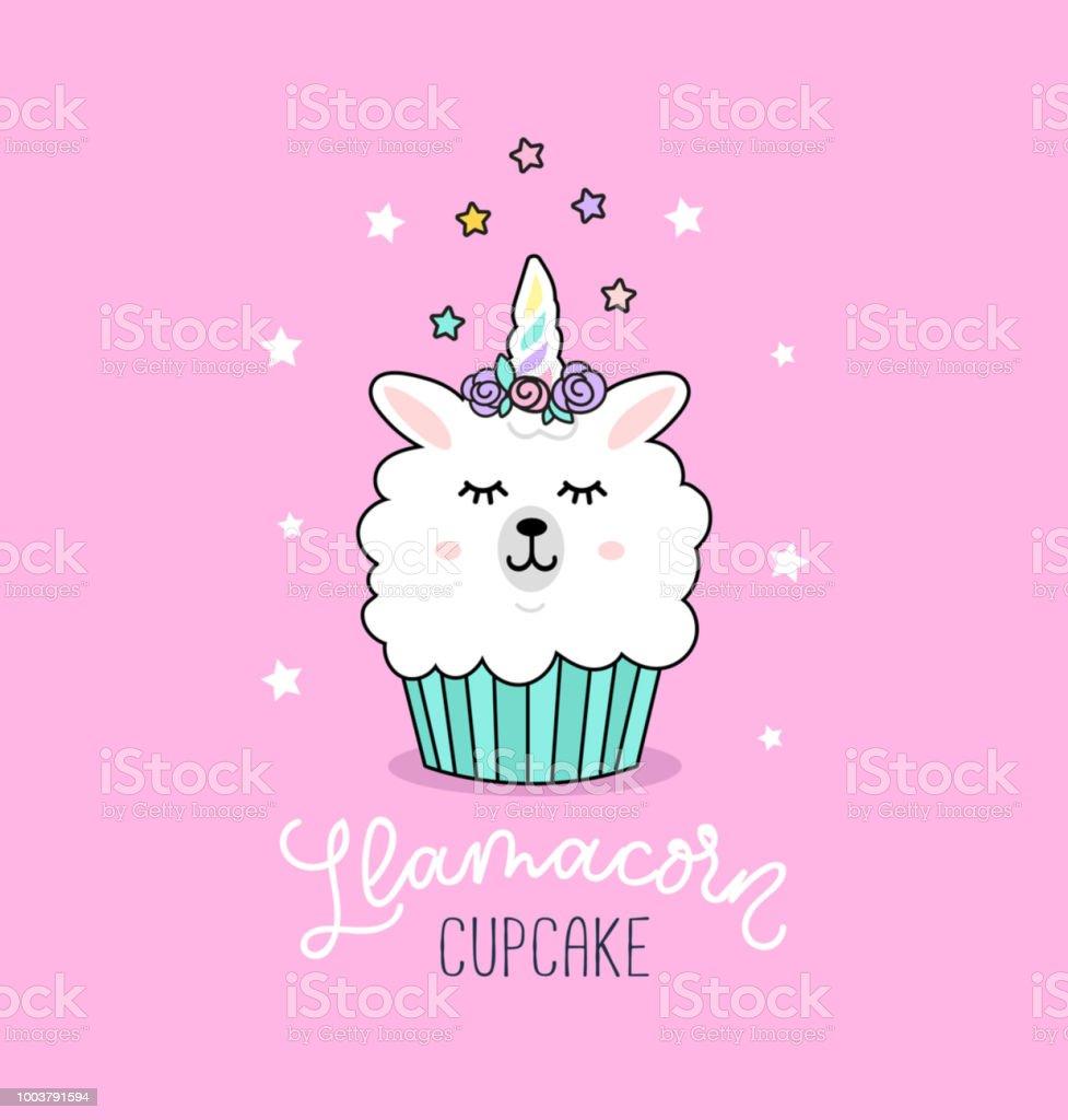 ユニコーン ラマと星とともにラマ カップケーキかわいいイラスト